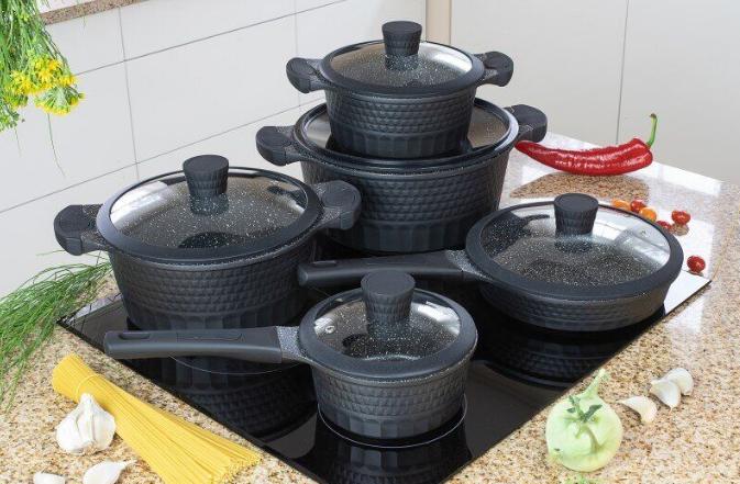 Набор посуды Edenberg EB-9186 из 10 предметов казаны сковорода и ковш мраморное покрытие