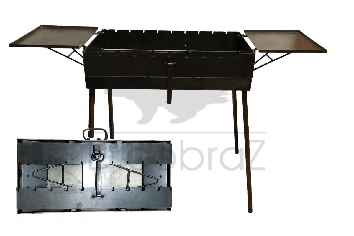 Мангал чемодан толщина 3 мм с двумя столиками на 9 шампуров ( отличный подарок, качественная сборка)