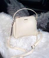Женская плечевая сумка из экокожи Zara реплика Бежевая, фото 1