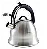 Чайник Edenberg EB-1977 со свистком из нержавеющей стали 3 л индукция   Свистящий металлический чайник, фото 2