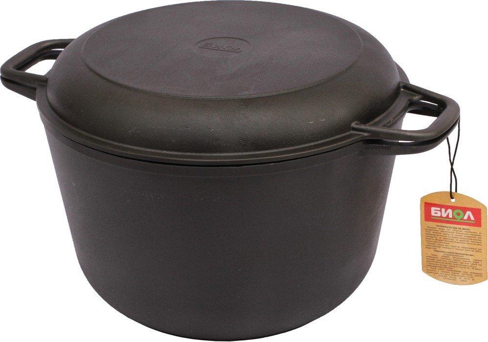Кастрюля чугунная литая с крышкой сковородой 6 литров