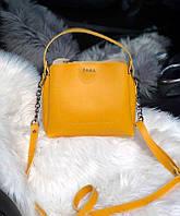 Женская плечевая сумка из экокожи Zara реплика Желтая, фото 1