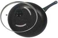 Сковорода с антипригарным мраморным покрытием с крышкой Benson BN-340 (24 см)   сковородка Бенсон, фото 1