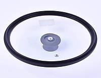 Крышка Benson BN-998 из закаленного стекла с силиконом (24 см) | стеклянная крышка Бенсон | крышка стекло, фото 1