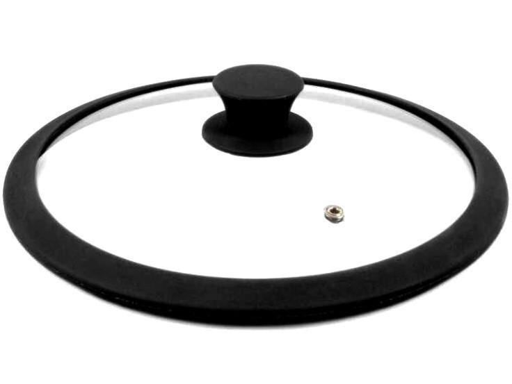 Кришка Benson BN-999 із загартованого скла з силіконом (26 см) | скляна кришка Бенсон | кришка скло