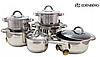 Набор посуды Edenberg EB-4012 кастрюли сотейник и ковш из 6 предметов