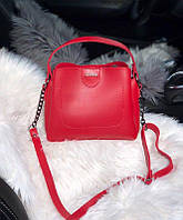 Женская плечевая сумка из экокожи Zara реплика Красная, фото 1