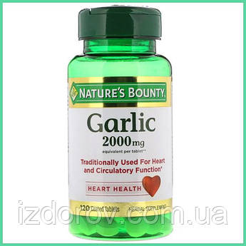 Nature's Bounty, Чеснок, 2000 мг, 120 таблеток, покрытых оболочкой