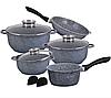 Набор посуды Edenberg EB-8012 из 10 предметов | Кастрюли сковороды ковш гранитное покрытие