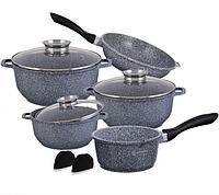 Набор посуды Edenberg EB-8012 из 10 предметов | Кастрюли сковороды ковш гранитное покрытие, фото 1