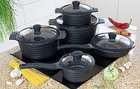 Набор посуды Edenberg EB-9185 из 10 предметов казаны сковорода и ковш мраморное покрытие, фото 1