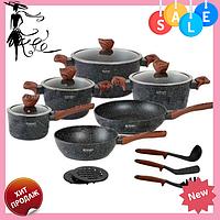 Набор посуды Edenberg EB-5617 из 15 предметов | Кастрюли сковороды ковш мраморное покрытие, фото 1