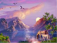 Алмазная мозаика выкладка стразами Лошади в горах (полная выкладка) 30*20 см и 30*40 см