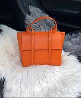 Элегантная женская сумка-трапеция из экокожи Оранжевая, фото 1