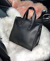 Женская квадратная кожаная сумка Черная