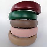 Обідок модний широкий еко-шкіра обруч об'ємний високий різні кольори трендовий ободочек модний, фото 3