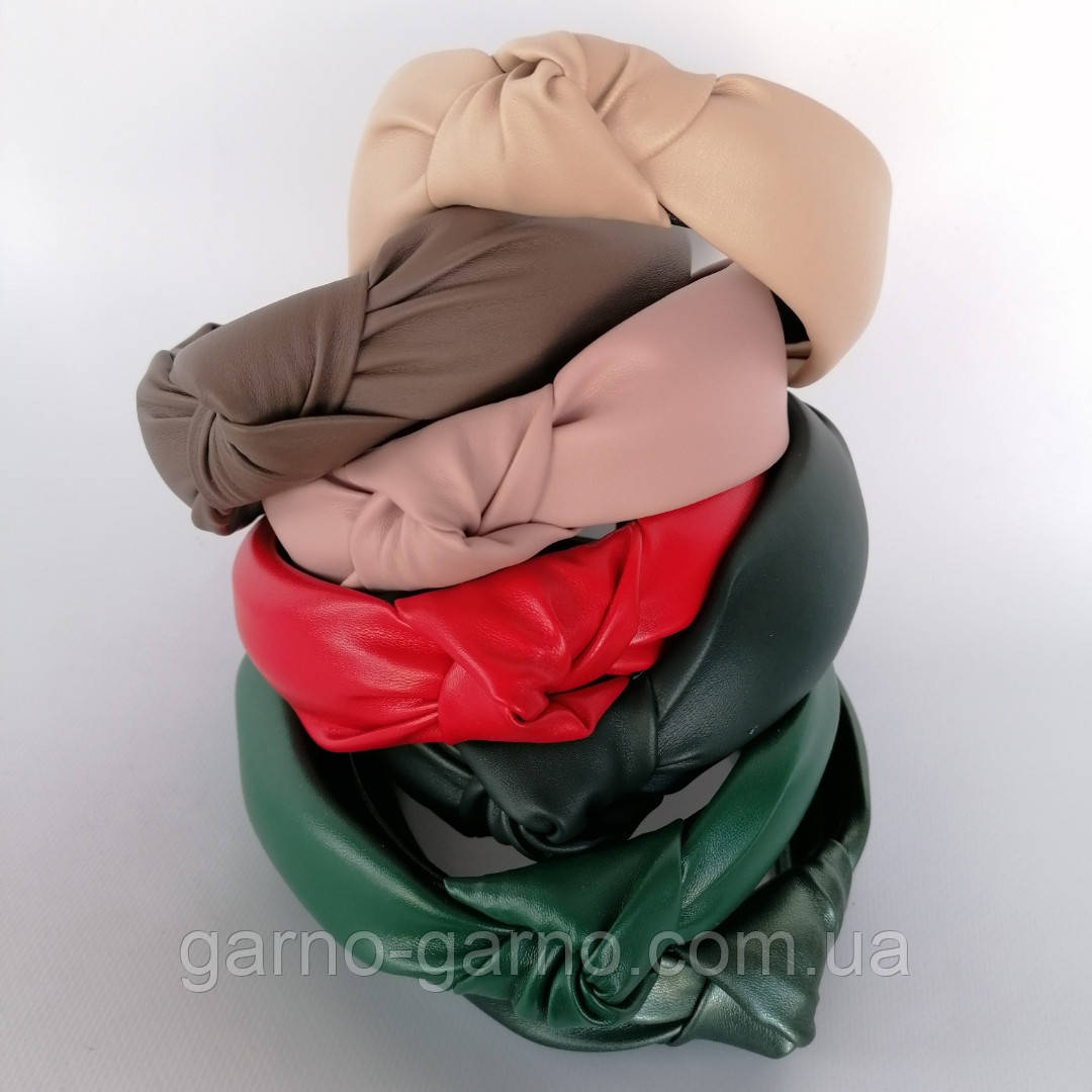 Ободок модный с узелком обруч Чалма эко-кожа разные цвета