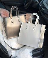 Женская квадратная кожаная сумка Бронзовая