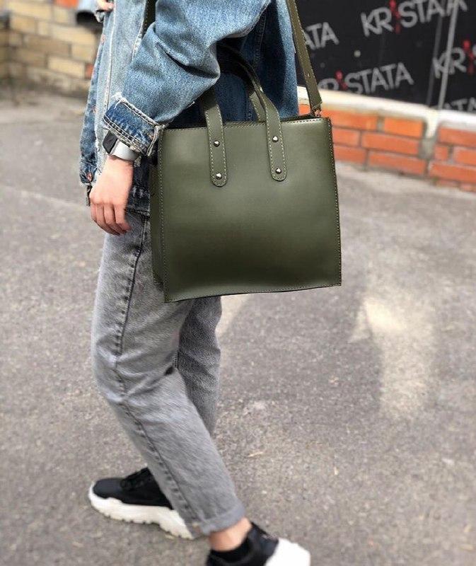 Женская квадратная кожаная сумка Зеленая