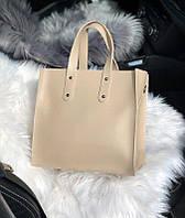 Женская квадратная кожаная сумка Кремовая, фото 1