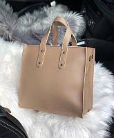Женская квадратная кожаная сумка Бежевая, фото 1