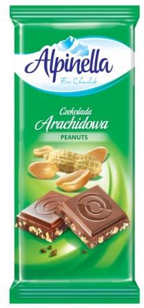 Alpinella шоколад з арахісом , 90г, фото 2