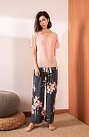 Пижама женская из вискозы с цветами. Комплект в стиле Oysho из футболки  и штанов для дома, сна, фото 1