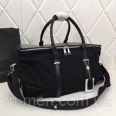 Дорожная черная сумка Bally текстильная серебристая фурнитура|Сумка мужская женская Балли дорожная спортивная