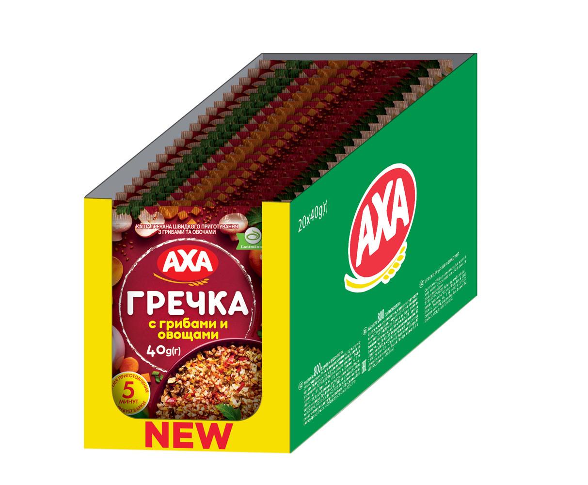 Каша гречана швидкого приготування з грибами та овочами 40г   20шт АХА