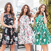 Сарафан платье женское принт черный зеленый белый 42 44 46 фабричный китай с листьями с цветами с розами
