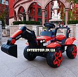 Детский электромобиль Трактор с подвижным ковшом и подсветкой Bambi M 4263EBLR-3 красный, фото 6