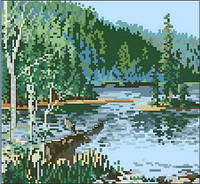 Схема на канве для вышивки крестом Речной пейзаж Ркан 4043