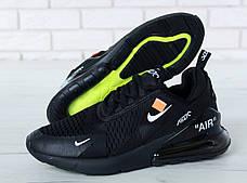 Чоловічі кросівки в стилі Virgil Abloh Off-White x Nike Air Max 270 Black, фото 2