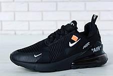 Чоловічі кросівки в стилі Virgil Abloh Off-White x Nike Air Max 270 Black, фото 3