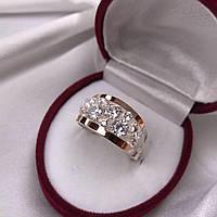 Кольцо серебряное 925° с золотой пластиной 375°.Вставка-фианиты.