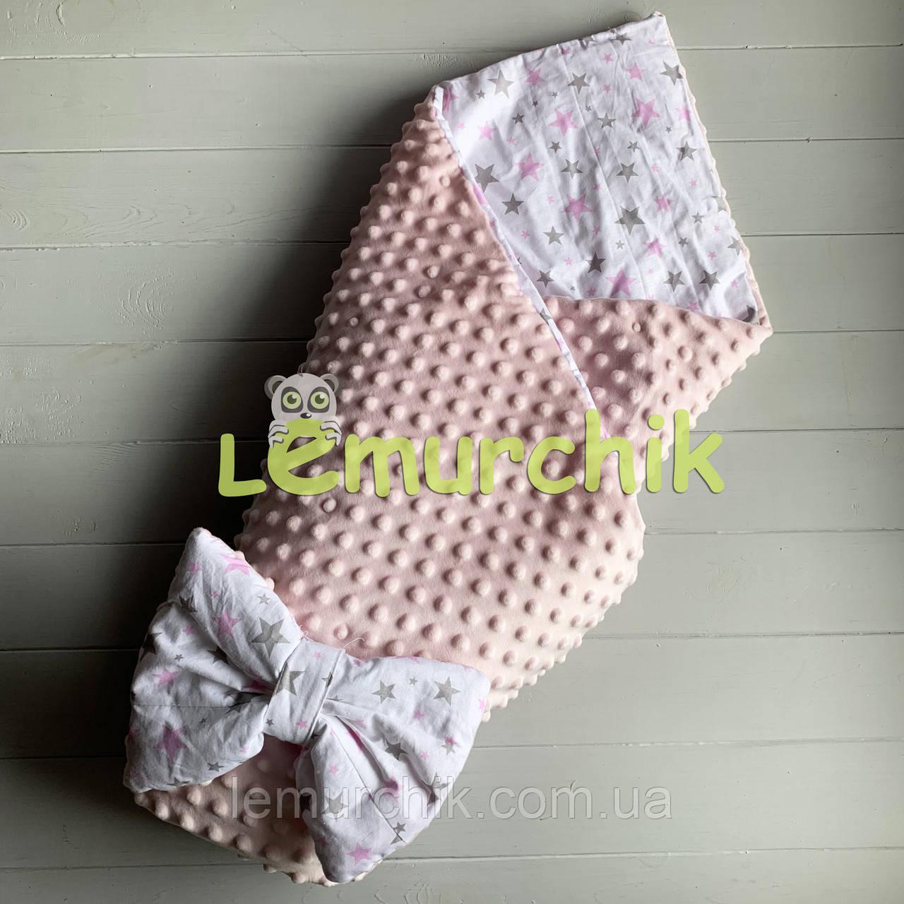 Конверт-одеяло минки на съемном синтепоне светло-розовый Звездочки