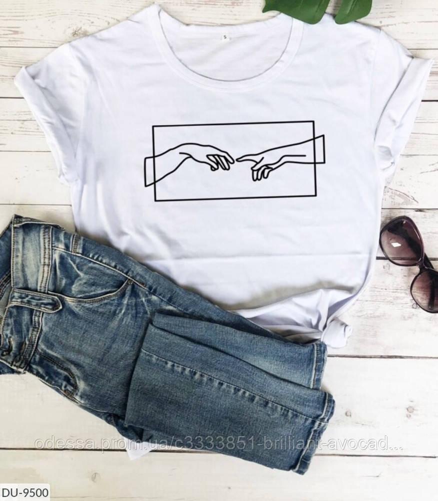 Женская свободная футболка с классным принтом