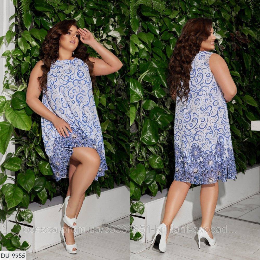 Женское летнее шифоновое платье с принтом, большой размер!!!
