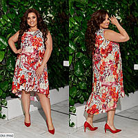 Женское лёгкое летнее платье с цветочным принтом большого размера