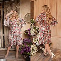 Женское миди платье в цветочек, большого размера