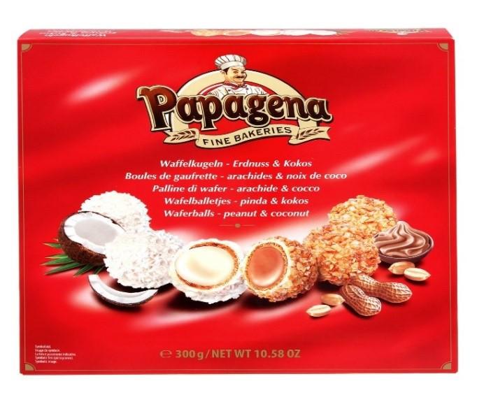 Вафельні кульки PAPAGENA, мікс горіхи + кокос, 300г