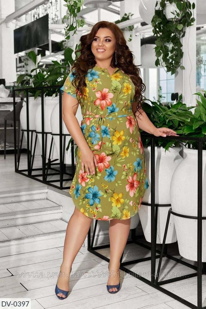 Летнее платье в цветочек из софта, большой размер!!
