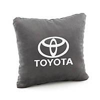 Подушка с логотипом Toyota  темно серый флок_склад