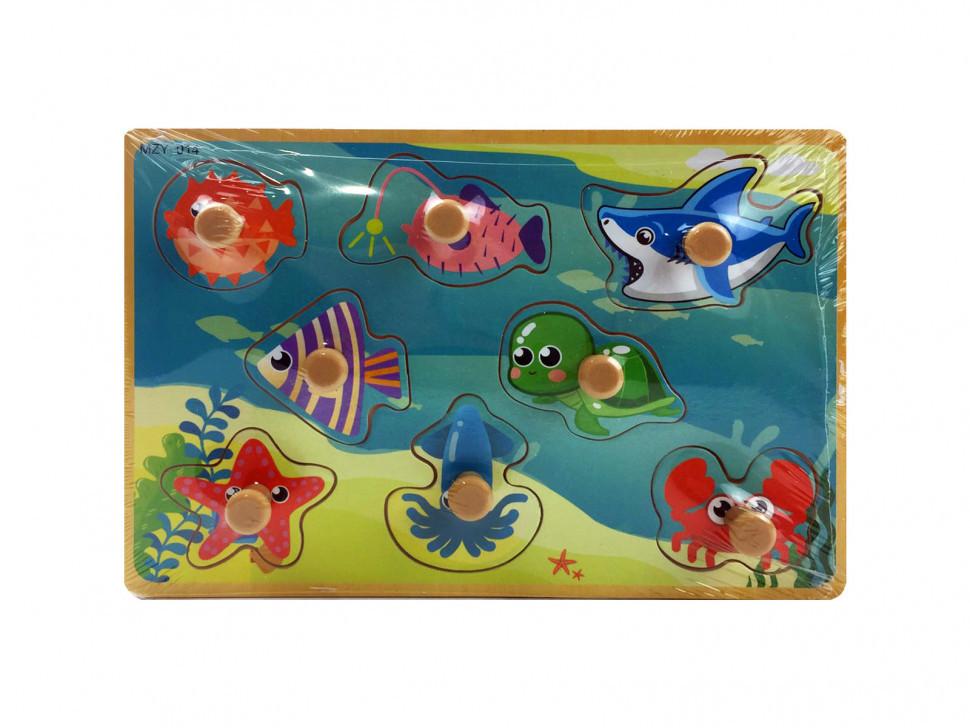Деревянная игрушка Рамка-вкладыш MD  2384-01 ( 2384-014 (Морские животные))