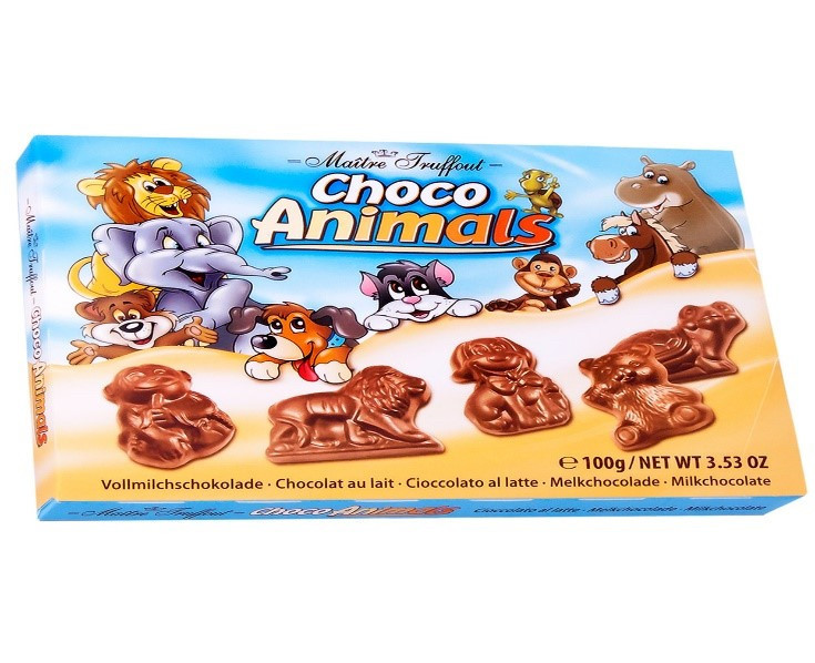 Цукерки Maitre Truffout, CHOCO ANIMALS, фігурки з молочного шоколаду, 100г