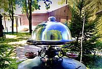 """Кованый садж для подачи шашлыков с крышкой и соусниками """"Классик"""", 320мм"""