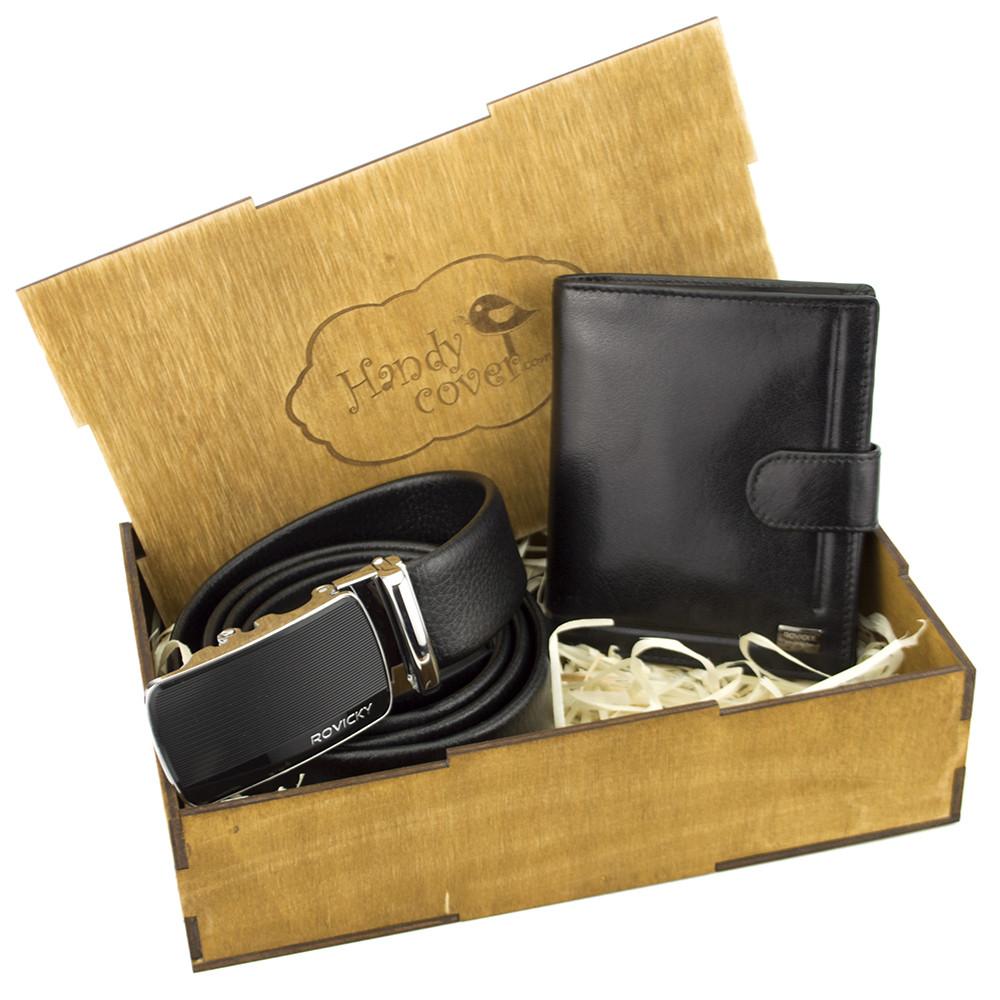 Подарочный набор мужской в коробке Rovicky 01-106 (кожаные ремень и портмоне)