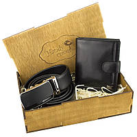 Подарочный набор мужской в коробке Rovicky 01-106 (кожаные ремень и портмоне), фото 1
