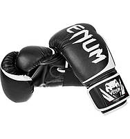 Боксерские перчатки Venum Challenger 2.0 черные 12, 14 и 16 унций тренировочные, кожаные перчатки для бокса, фото 1