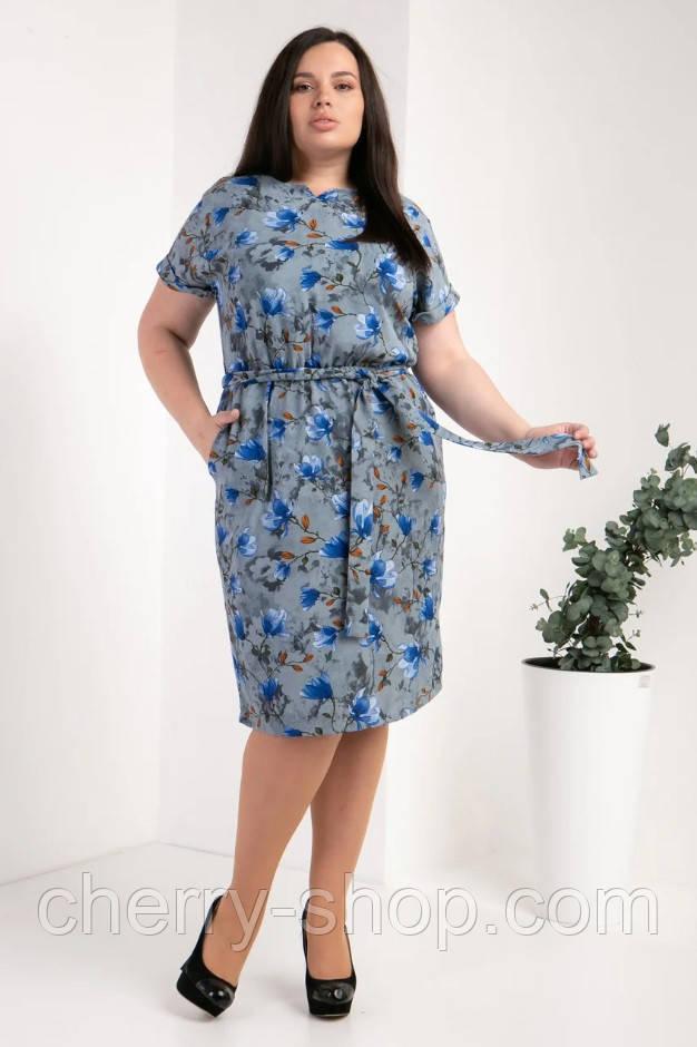 Красивое легкое летнее платье в размере 50,52,54,56